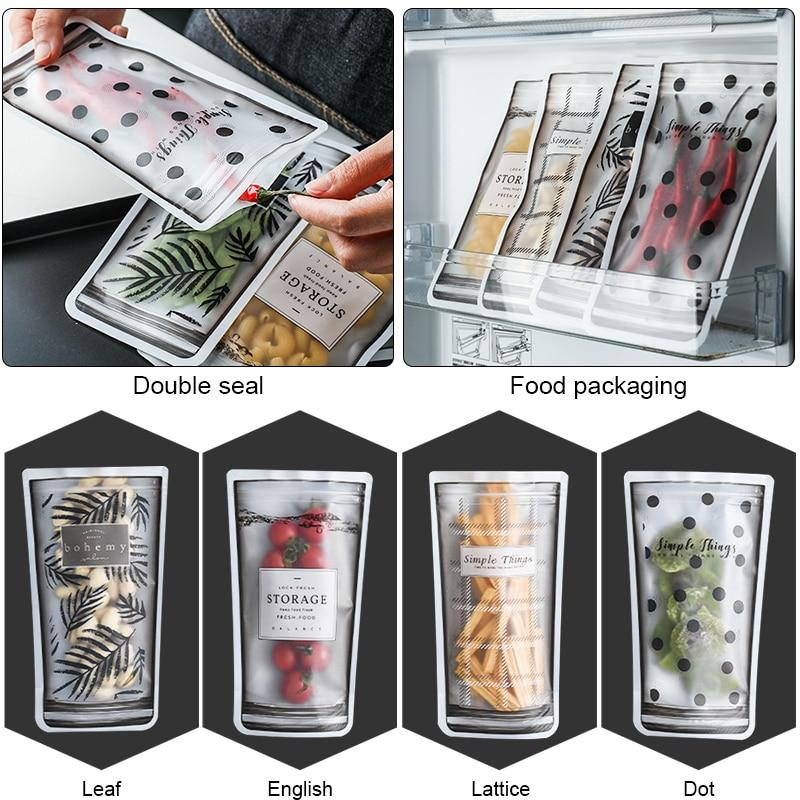 Konco Household Plastic bags Portable Snacks Sealing Zipper Bag Fruit Vegetable Refrigerator Storage Bags Nuts Moistureproof Bag