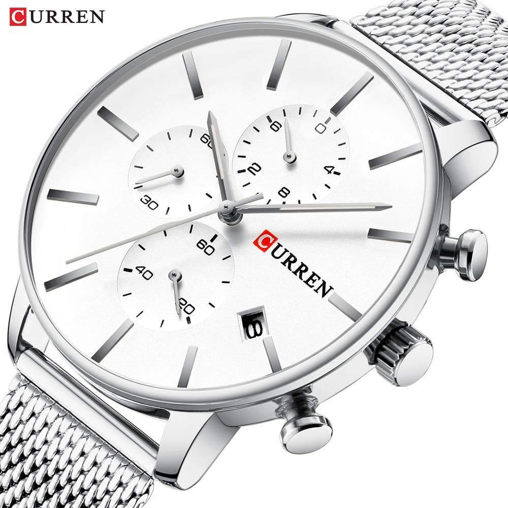 CURREN Men Luxury Business Quartz Military Watch Fashion Stainless Steel Band Wrist Watches Clock Date Relogio Dropshipping - Silver