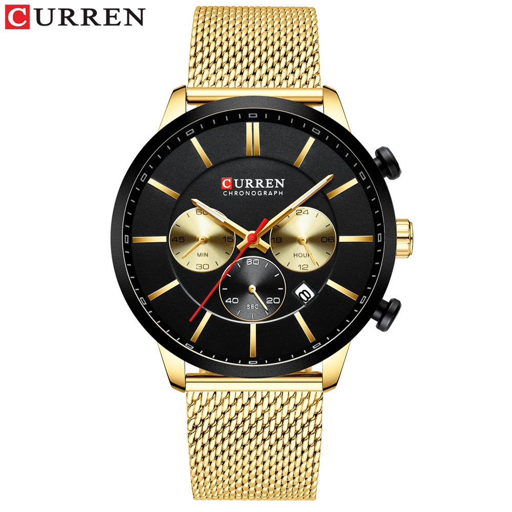 CURREN Fashion Watch Men Waterproof Sport Watches for Men Stainless Steel Mesh Band Quartz Clock Casual Business Wristwatch - Gold black