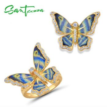 SANTUZZA Silver Jewelry Set for Women 925 Colorful Enamel Butterfly Brooch Ring Set Party Fine Jewelry HANDMADE - 8