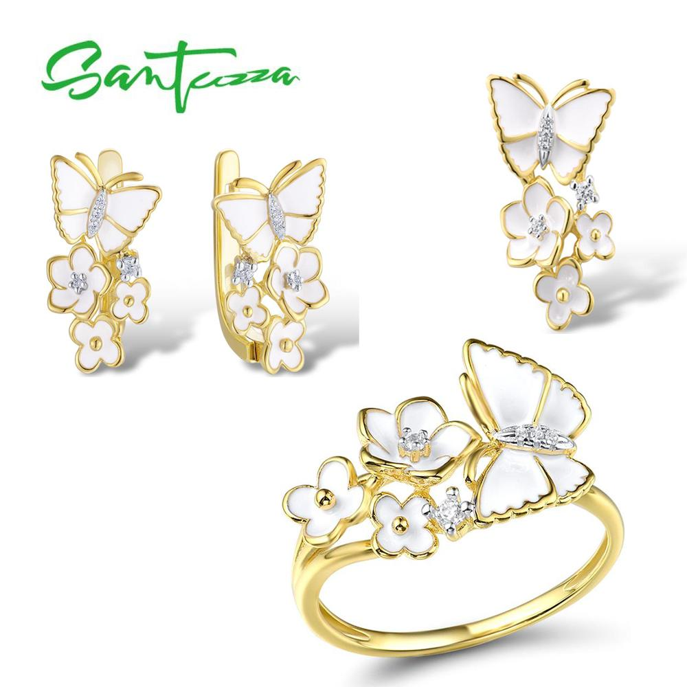 SANTUZZA Jewelry Set for Women 925 Sterling Silver Flowers Butterfly Pendant Earrings Ring Set Fine Jewelry Handmade Enamel - 7