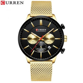 2019 New CURREN Watch Men Chronograph Quartz Business Mens Watches Top Brand Luxury Waterproof Wrist Watch Reloj Hombre Saat - gold black watch