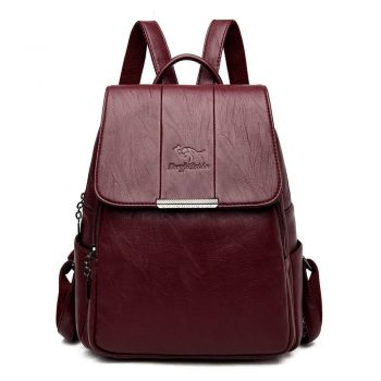 Fashion Women Backpack Soft Designer High Quality Leather Backpack Female Travel Backpacks School Bag Mochila Feminina - Winered, China