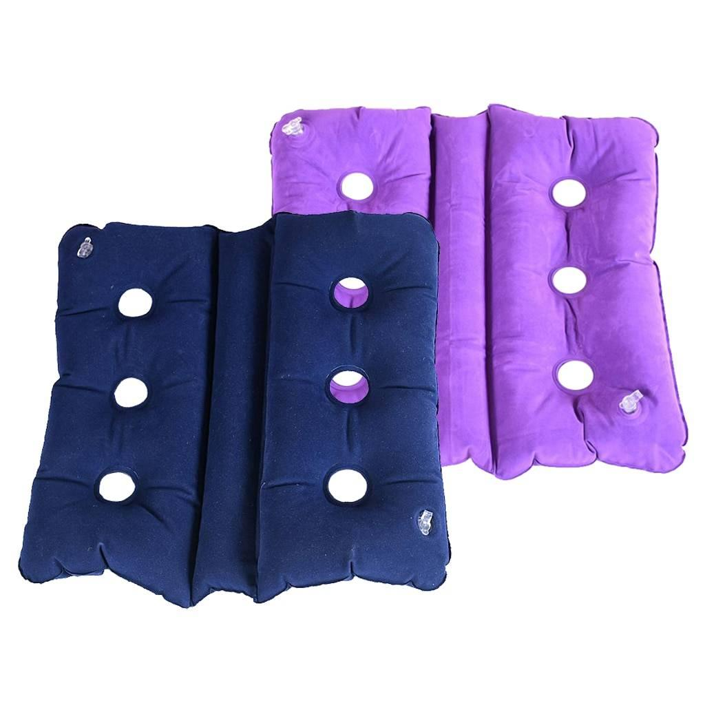 2pcs Air Inflatable Seat Cushions for Wheel Chair, Office Chair, and Car - Coccyx Seat Cushion - Blue & Purple