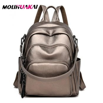 Multi-layer Pocket Women Leather Backpacks High Quality Vintage Backpack For Girls School Bag Travel Bagpack Ladies Back Pack - black, China