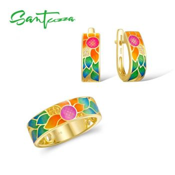 SANTUZZA Silver Jewelry Set For Woman Enamel Flower Ring Earrings Set 925 Sterling Silver Charming Fashion Jewelry Set Handmade - 8.5