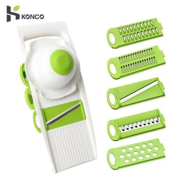 KONCO 5-in-1 Mandoline Slicer Grater Tools, Vegetable & Fruit Chooper with 5 Stainless Steel Blade, Carrot Peeler Kitchen Tools - New Version
