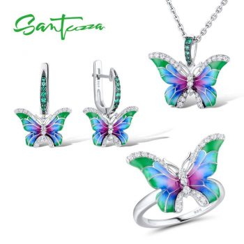 SANTUZZA Jewelry Set HANDMADE Enamel CZ Stones Butterflies Ring Earrings Pendent Necklace 925 Sterling Silver Women Jewelry Set - 6