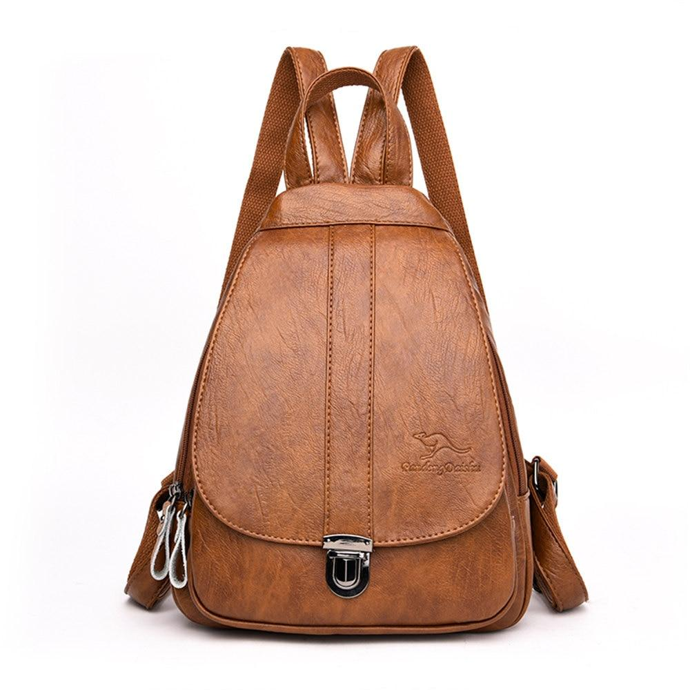 2019 Women Leather Backpacks Female Chest Bag Sac a Dos Travel Back Pack Ladies Bagpack Mochilas School Bags For Teenage Girls - Winered, China