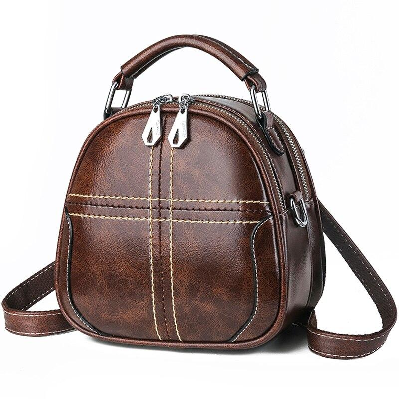 2019 Female Mini Backpack Multifunction Women high quality soft Leather Backpack women Shoulder Bag Sac A Dos Travel Back Pack - Coffee