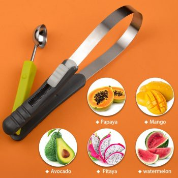KONCO Fruits Peeler Fruit corer Remover Mongo Splitter Watermelon Papaya Seed remover Melon Scoop Baller Cherry Pitters