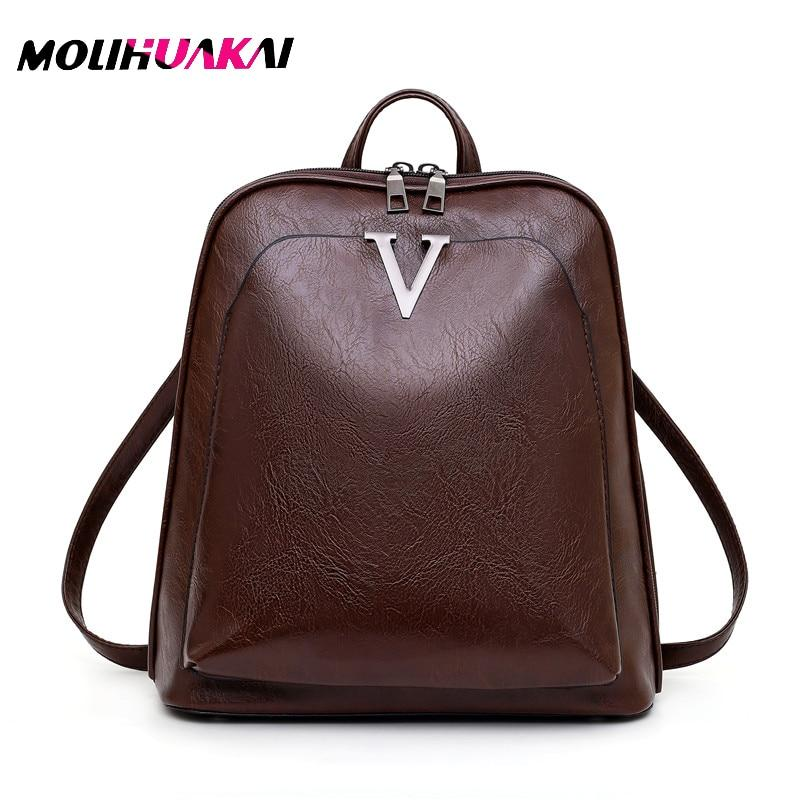 Hot sale New 2019 Women ladies PU Leather small Backpacks for Teenage Girls Female School Shoulder Bag bag pack mochila - Brown, China