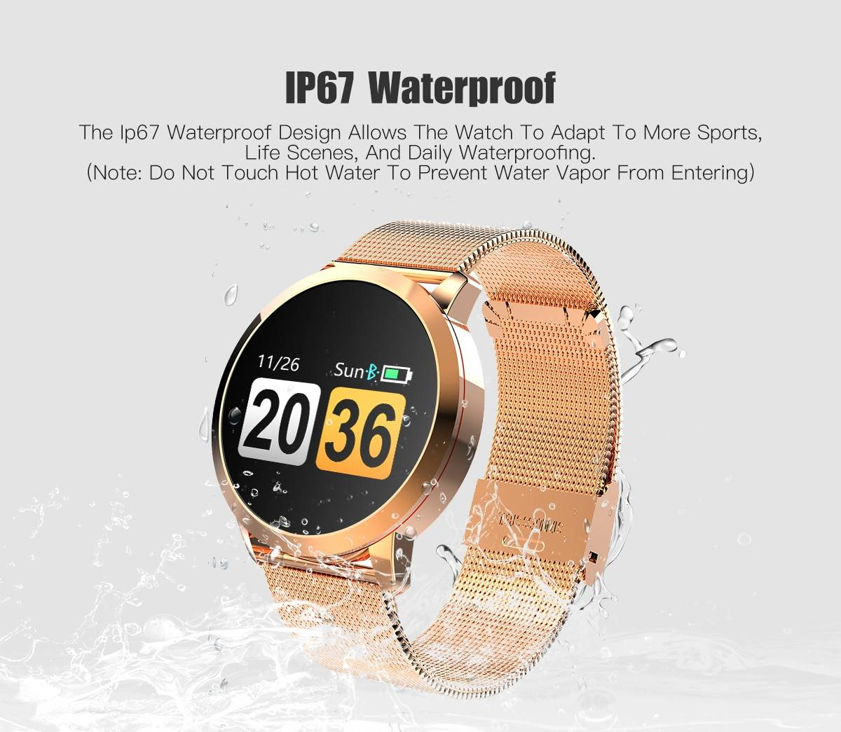 New Men's Women's Watch Q8 Smart Watch OLED Color Screen Smartwatch women Fashion Fitness sport Tracker Heart Rate monitor